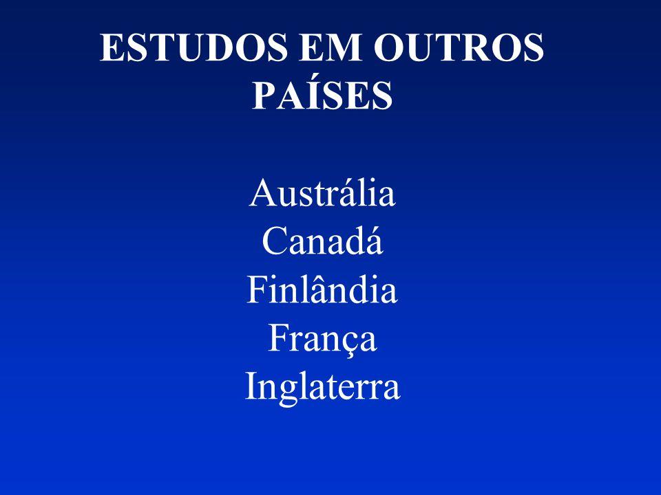 ESTUDOS EM OUTROS PAÍSES Austrália Canadá Finlândia França Inglaterra