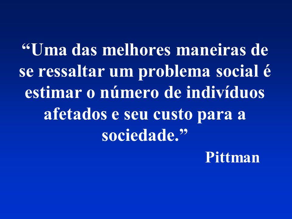 Uma das melhores maneiras de se ressaltar um problema social é estimar o número de indivíduos afetados e seu custo para a sociedade. Pittman