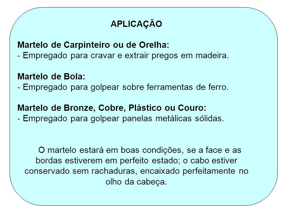 APLICAÇÃO Martelo de Carpinteiro ou de Orelha: - Empregado para cravar e extrair pregos em madeira.