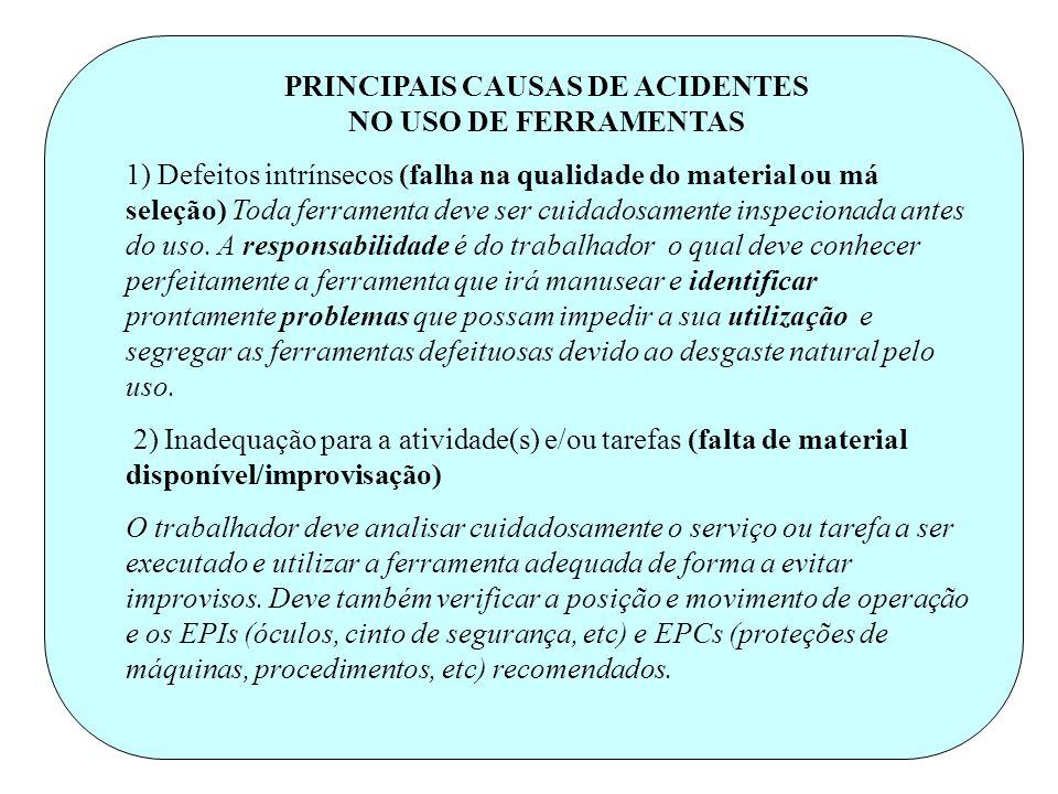 PRINCIPAIS CAUSAS DE ACIDENTES NO USO DE FERRAMENTAS