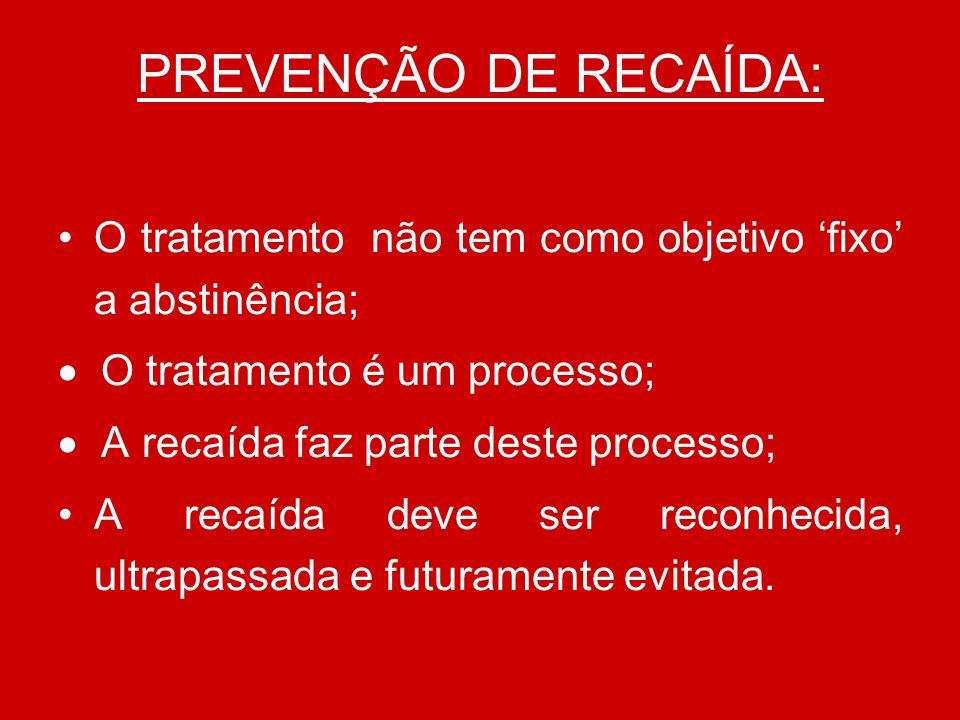 PREVENÇÃO DE RECAÍDA: O tratamento não tem como objetivo 'fixo' a abstinência; · O tratamento é um processo;