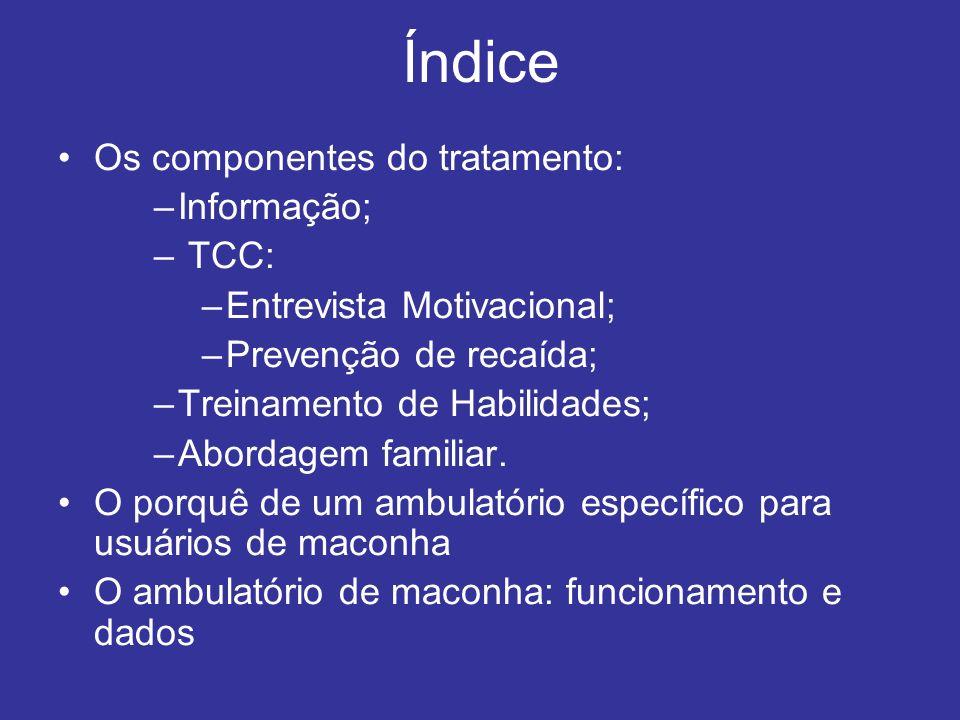 Índice Os componentes do tratamento: Informação; TCC:
