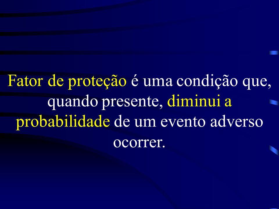Fator de proteção é uma condição que, quando presente, diminui a probabilidade de um evento adverso ocorrer.