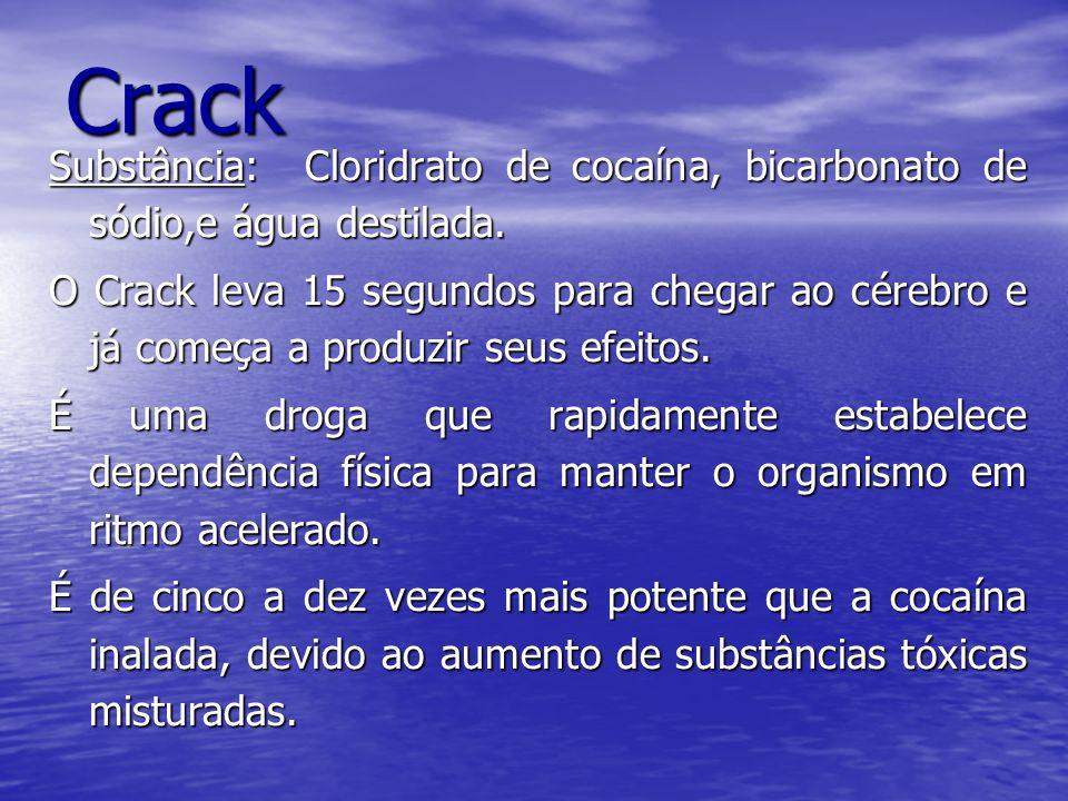 Crack Substância: Cloridrato de cocaína, bicarbonato de sódio,e água destilada.