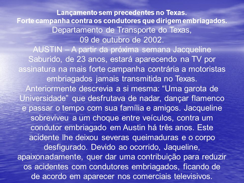 Departamento de Transporte do Texas, 09 de outubro de 2002.