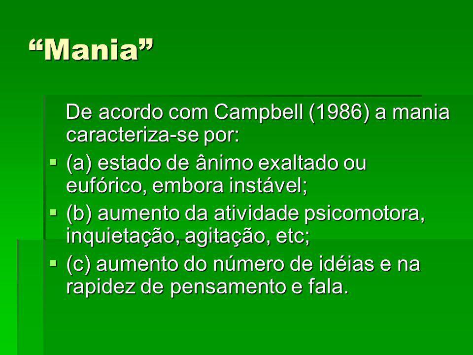 Mania De acordo com Campbell (1986) a mania caracteriza-se por: