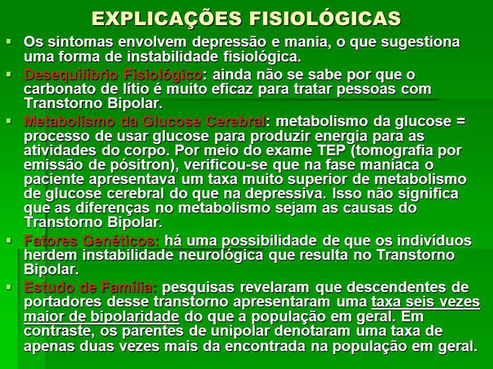 EXPLICAÇÕES FISIOLÓGICAS