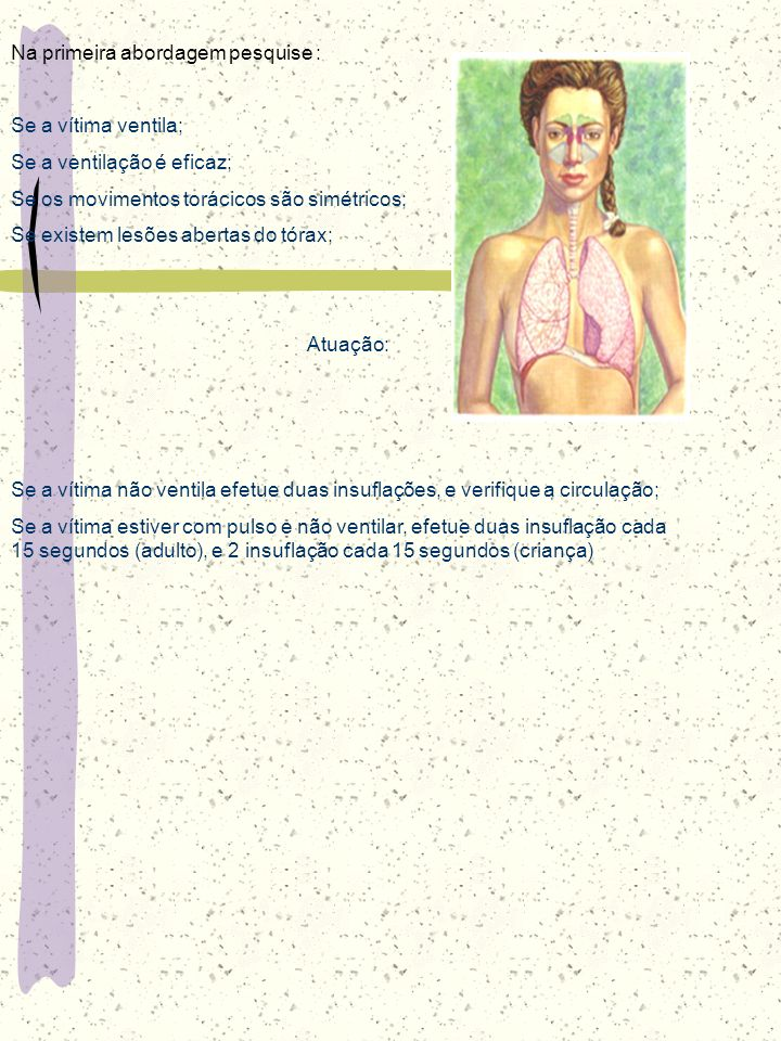 Na primeira abordagem pesquise : Se a vítima ventila;