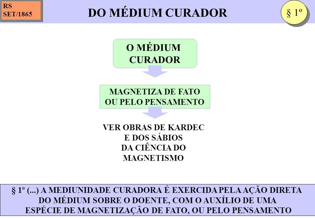 DO MÉDIUM CURADOR § 1º O MÉDIUM CURADOR