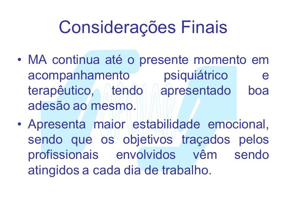 Considerações Finais MA continua até o presente momento em acompanhamento psiquiátrico e terapêutico, tendo apresentado boa adesão ao mesmo.