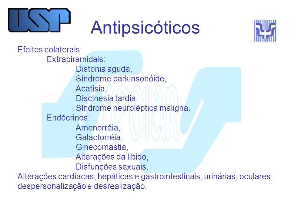 Antipsicóticos Efeitos colaterais: Extrapiramidais: Distonia aguda,