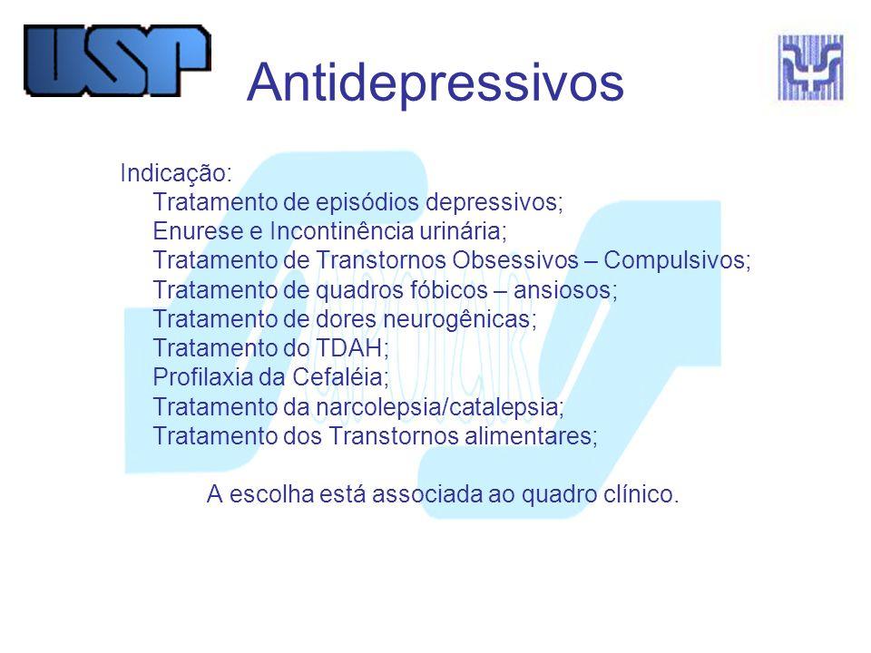 Antidepressivos Indicação: Tratamento de episódios depressivos;