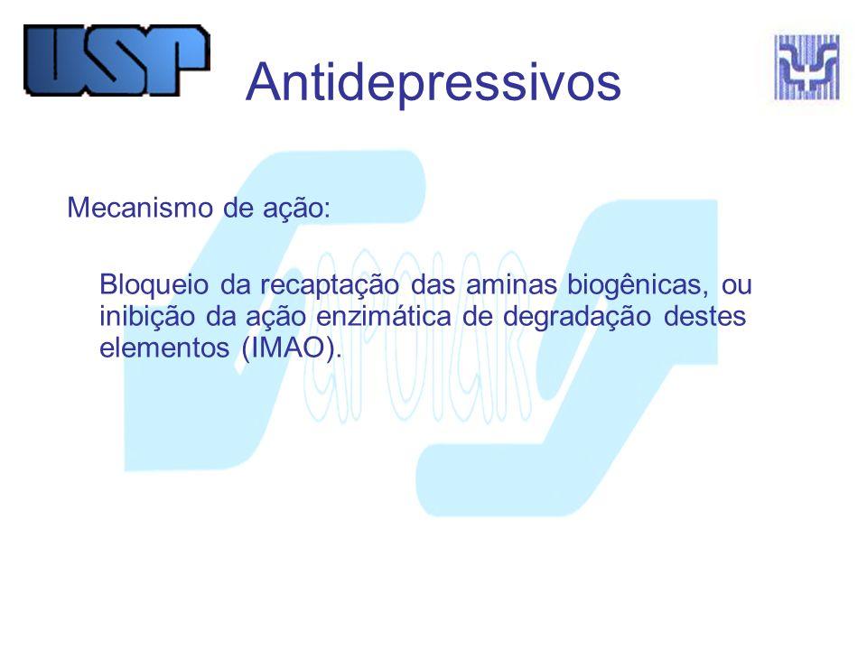 Antidepressivos Mecanismo de ação:
