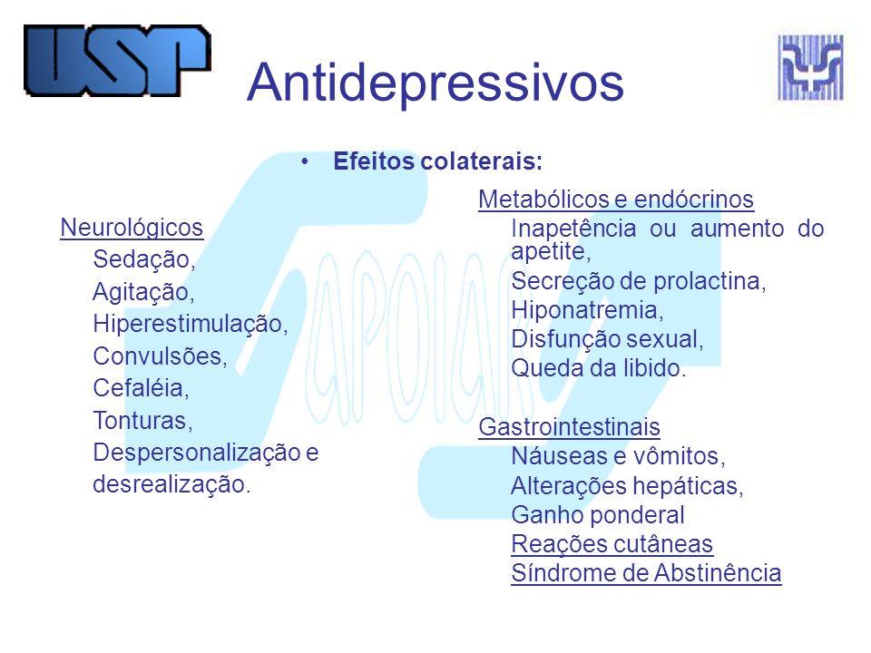 Antidepressivos Efeitos colaterais: Metabólicos e endócrinos