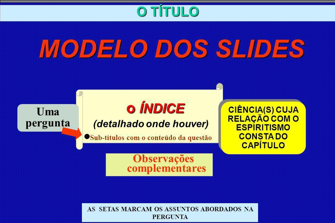MODELO DOS SLIDES o ÍNDICE (detalhado onde houver) O TÍTULO