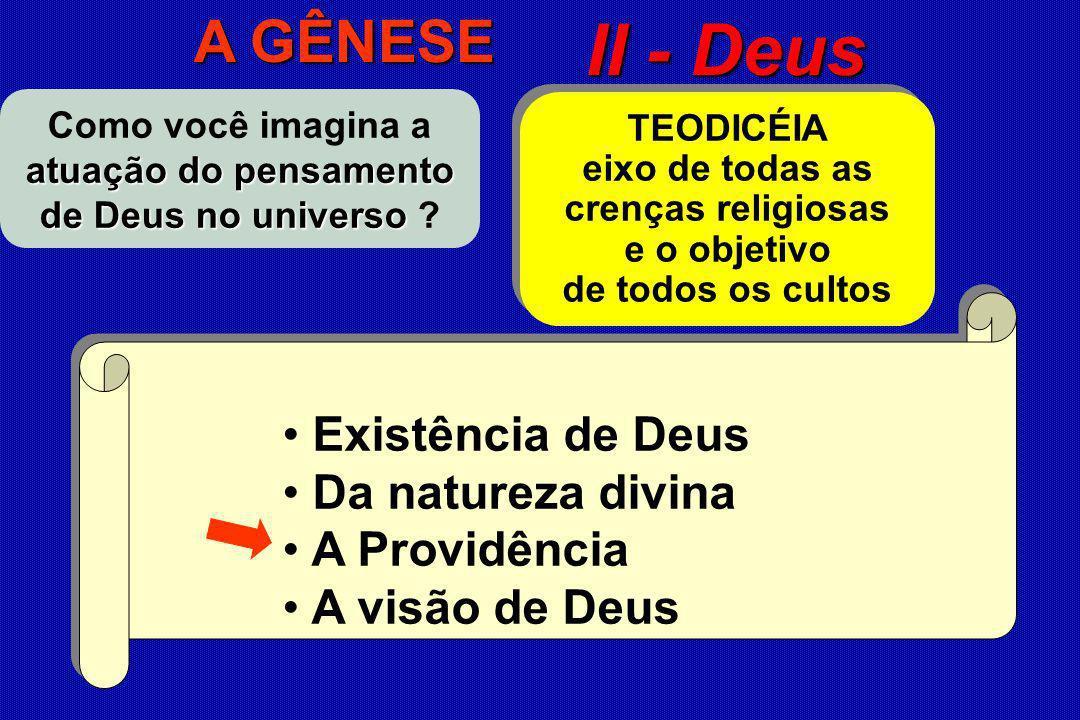 Como você imagina a atuação do pensamento de Deus no universo