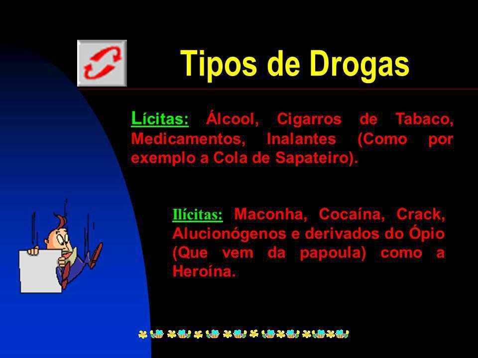 Tipos de Drogas Lícitas: Álcool, Cigarros de Tabaco, Medicamentos, Inalantes (Como por exemplo a Cola de Sapateiro).