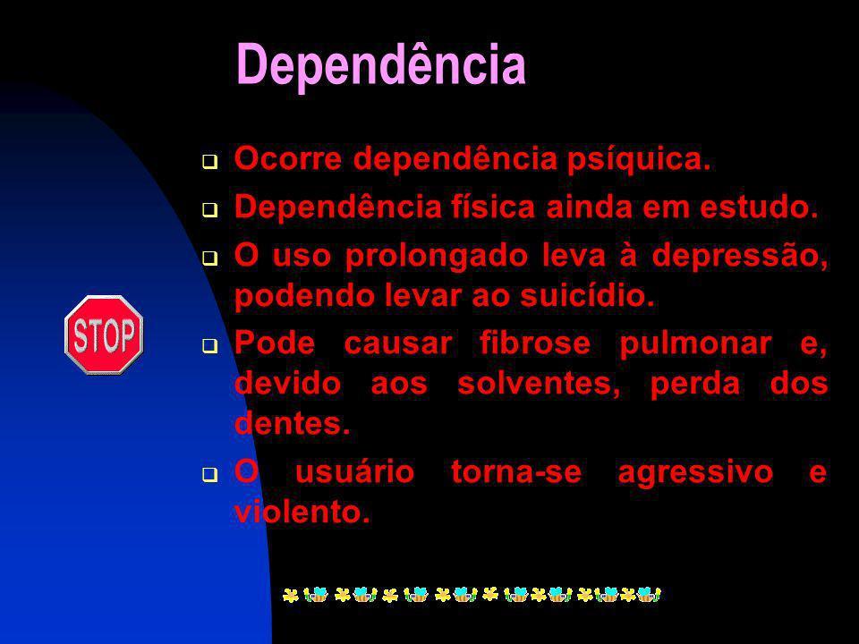 Dependência Ocorre dependência psíquica.