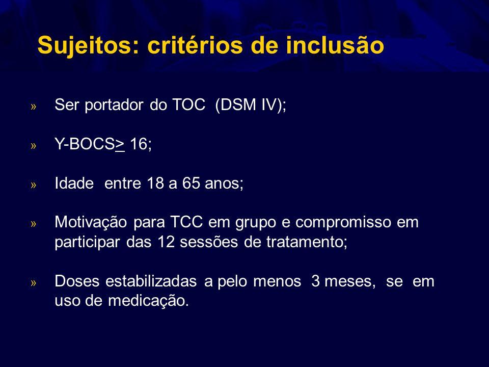 Sujeitos: critérios de inclusão