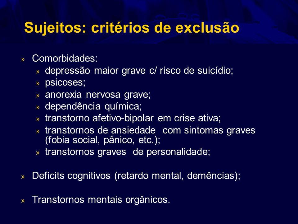 Sujeitos: critérios de exclusão