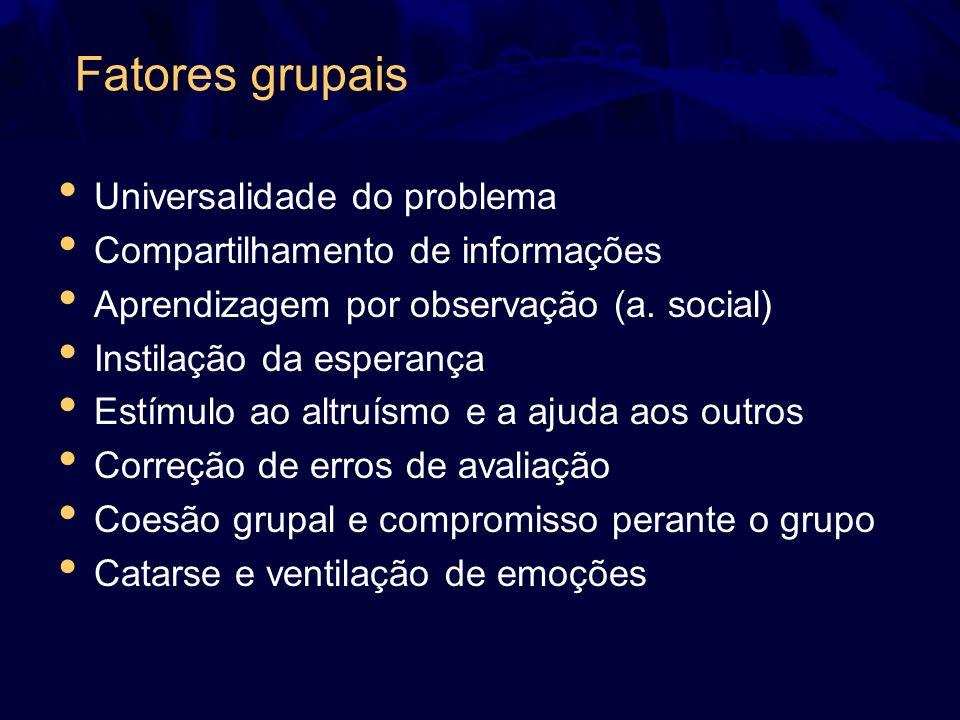 Fatores grupais Universalidade do problema