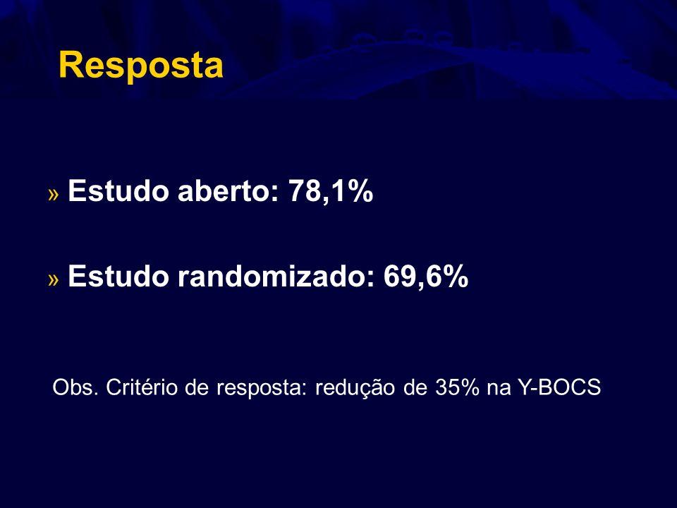 Resposta Estudo aberto: 78,1% Estudo randomizado: 69,6%
