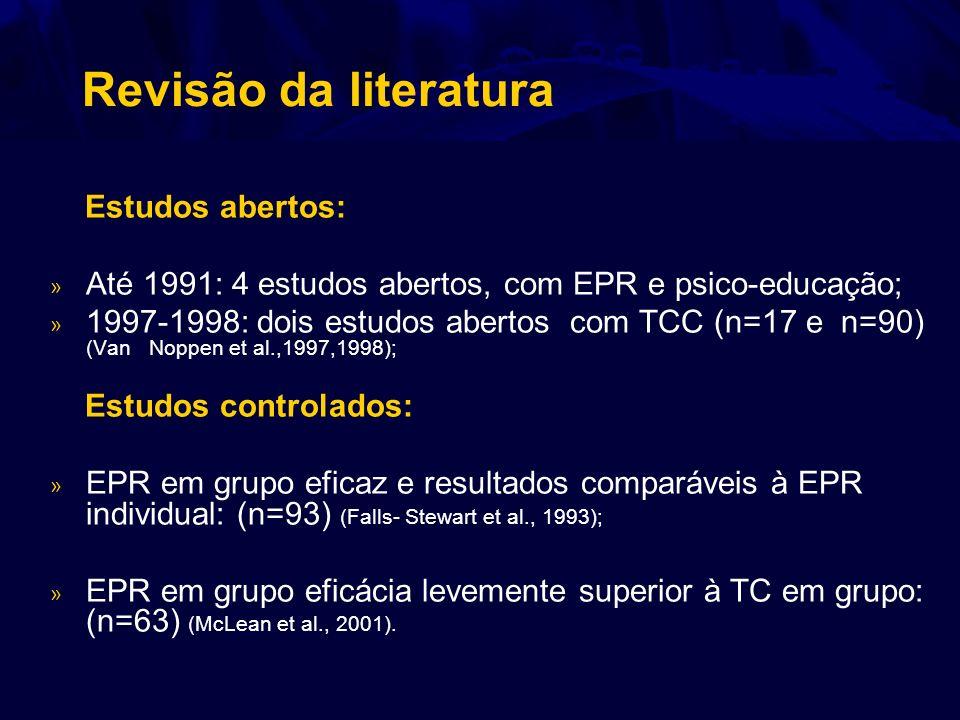 Revisão da literatura Estudos abertos: