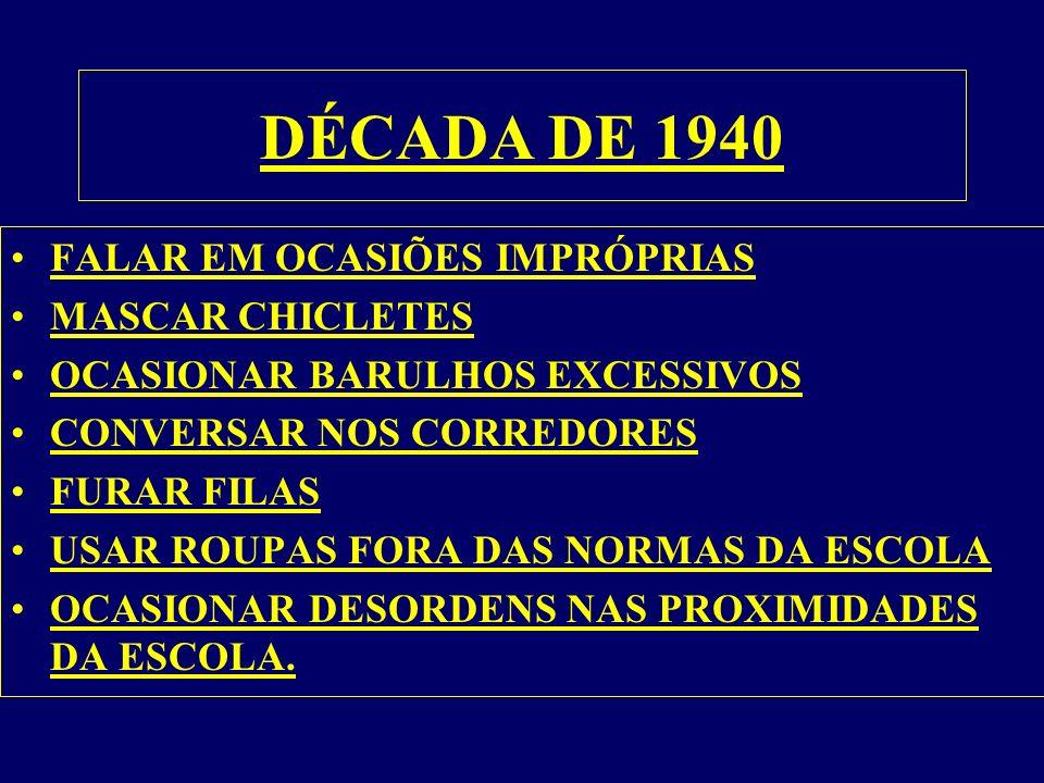 DÉCADA DE 1940 FALAR EM OCASIÕES IMPRÓPRIAS MASCAR CHICLETES