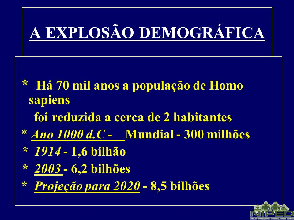A EXPLOSÃO DEMOGRÁFICA