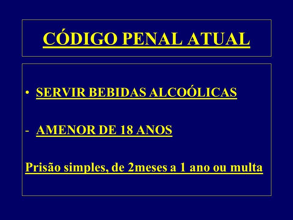 CÓDIGO PENAL ATUAL SERVIR BEBIDAS ALCOÓLICAS AMENOR DE 18 ANOS
