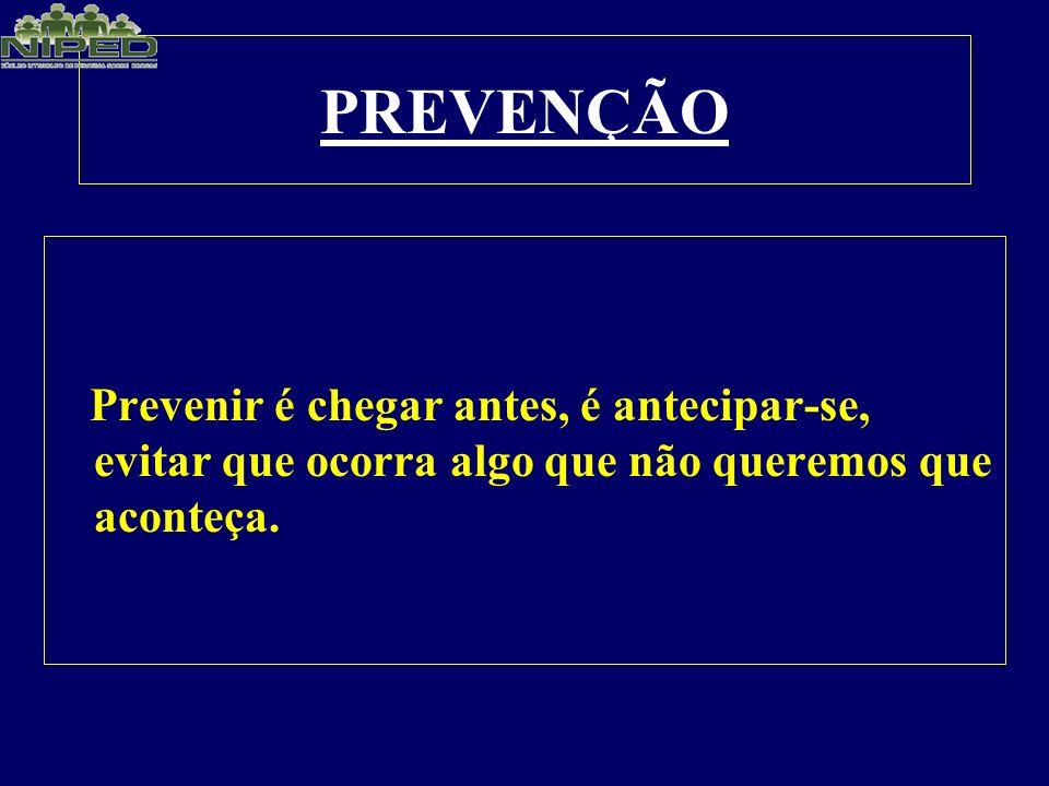 PREVENÇÃO Prevenir é chegar antes, é antecipar-se, evitar que ocorra algo que não queremos que aconteça.