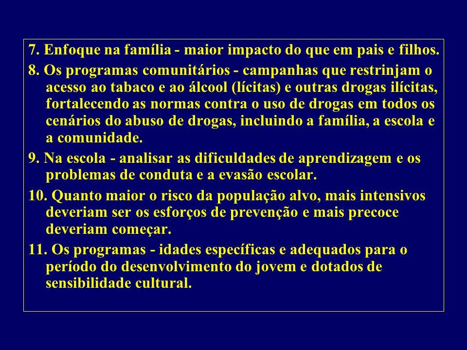 7. Enfoque na família - maior impacto do que em pais e filhos.