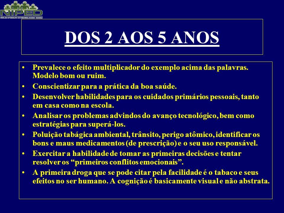 DOS 2 AOS 5 ANOS Prevalece o efeito multiplicador do exemplo acima das palavras. Modelo bom ou ruim.
