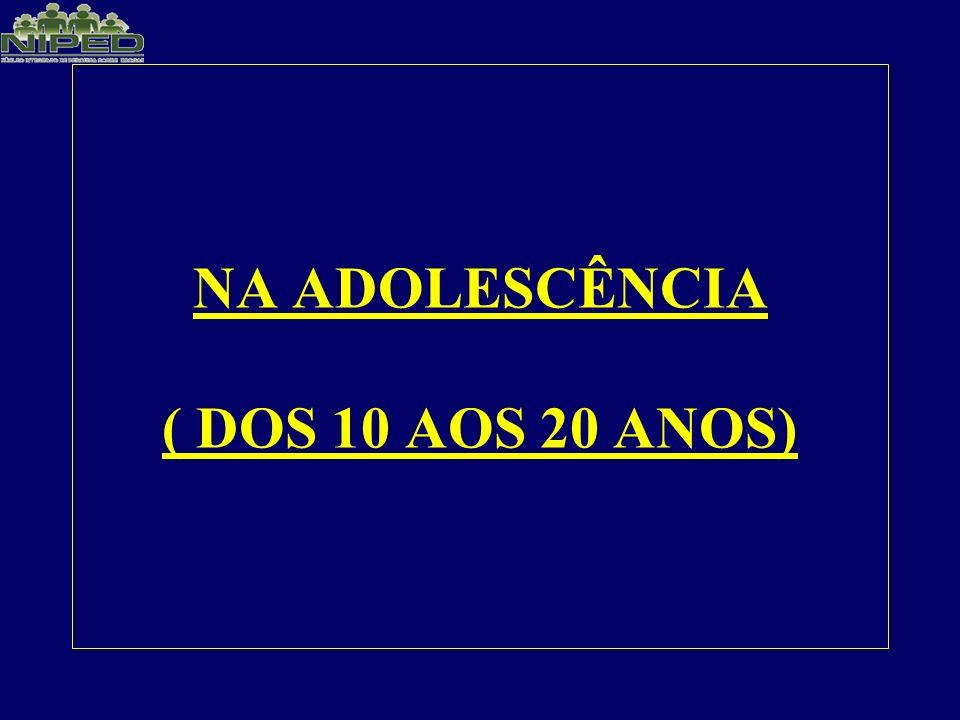 NA ADOLESCÊNCIA ( DOS 10 AOS 20 ANOS)