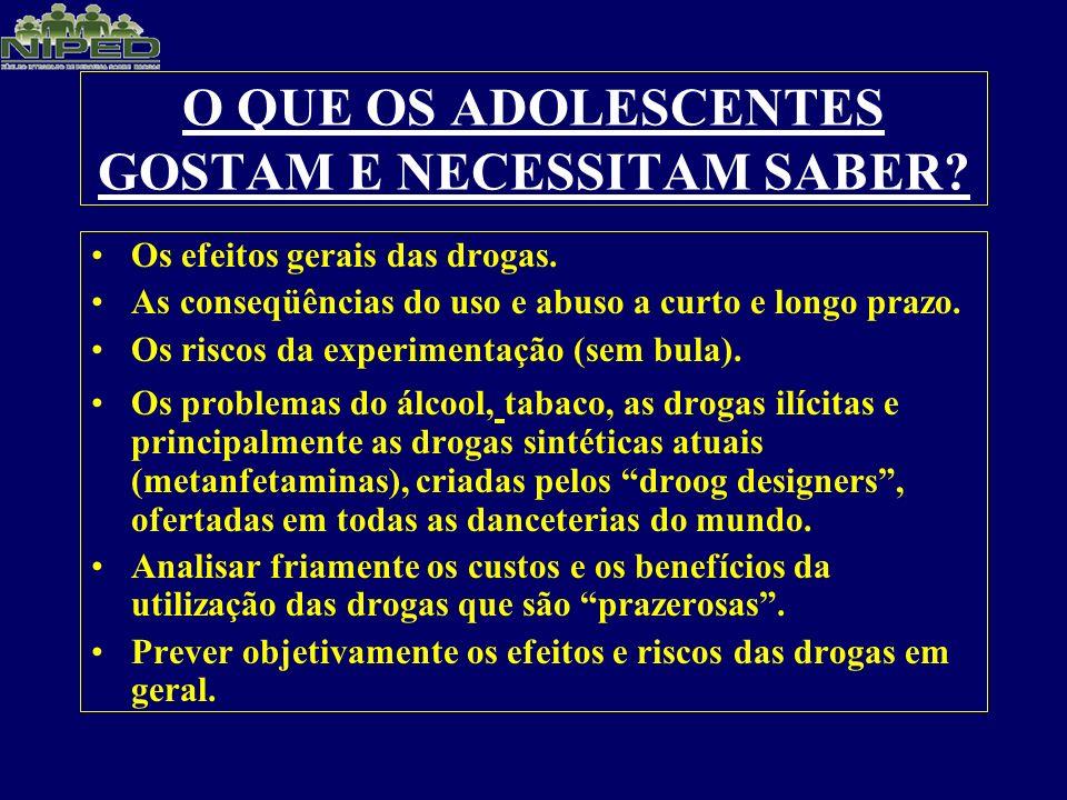 O QUE OS ADOLESCENTES GOSTAM E NECESSITAM SABER