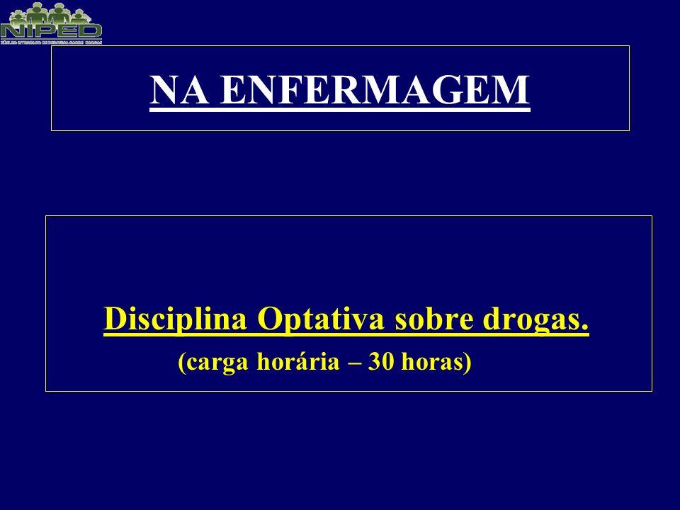 NA ENFERMAGEM Disciplina Optativa sobre drogas.