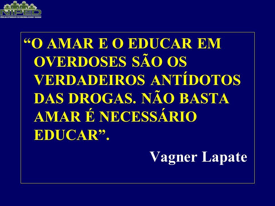 O AMAR E O EDUCAR EM OVERDOSES SÃO OS VERDADEIROS ANTÍDOTOS DAS DROGAS. NÃO BASTA AMAR É NECESSÁRIO EDUCAR .