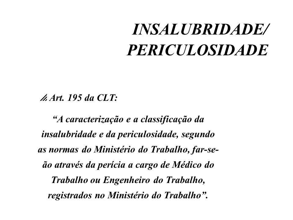INSALUBRIDADE/ PERICULOSIDADE Art. 195 da CLT: