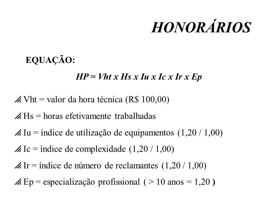 HONORÁRIOS EQUAÇÃO: HP = Vht x Hs x Iu x Ic x Ir x Ep