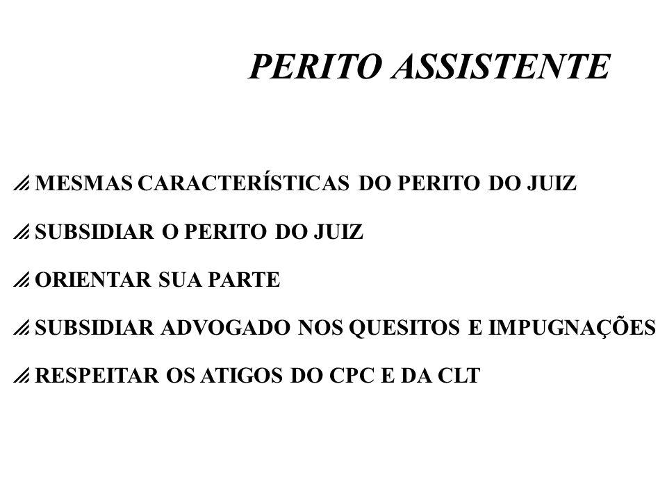 PERITO ASSISTENTE MESMAS CARACTERÍSTICAS DO PERITO DO JUIZ
