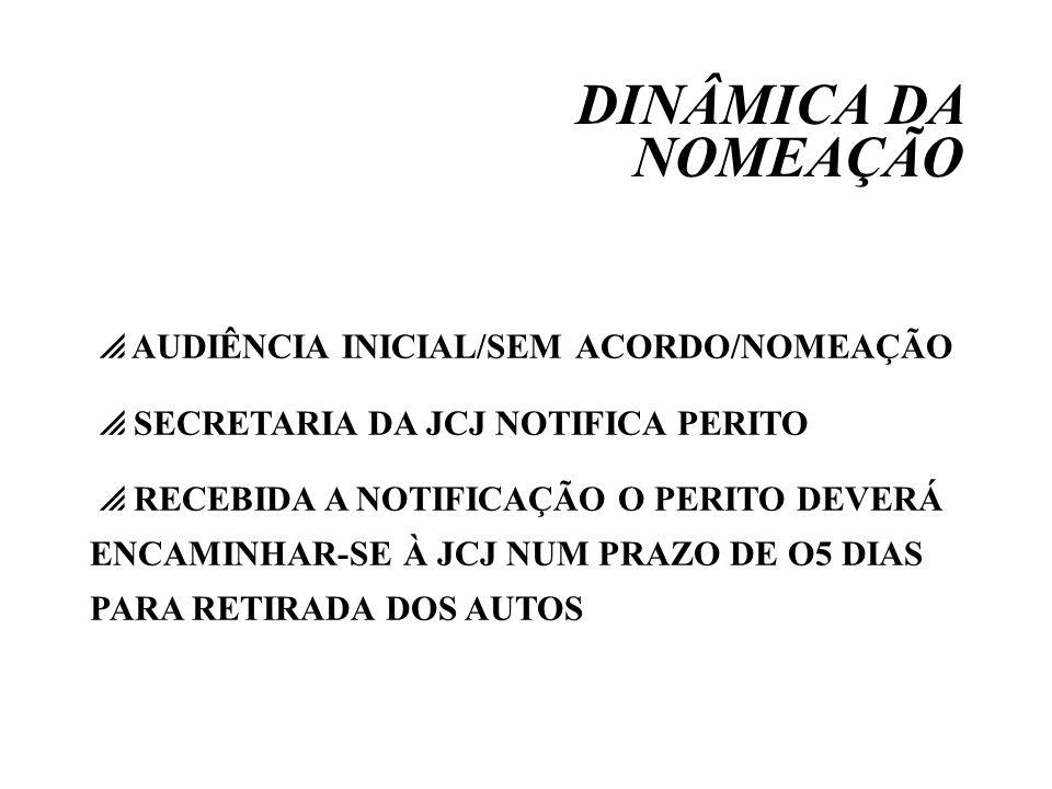 DINÂMICA DA NOMEAÇÃO AUDIÊNCIA INICIAL/SEM ACORDO/NOMEAÇÃO