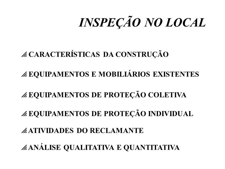 INSPEÇÃO NO LOCAL CARACTERÍSTICAS DA CONSTRUÇÃO