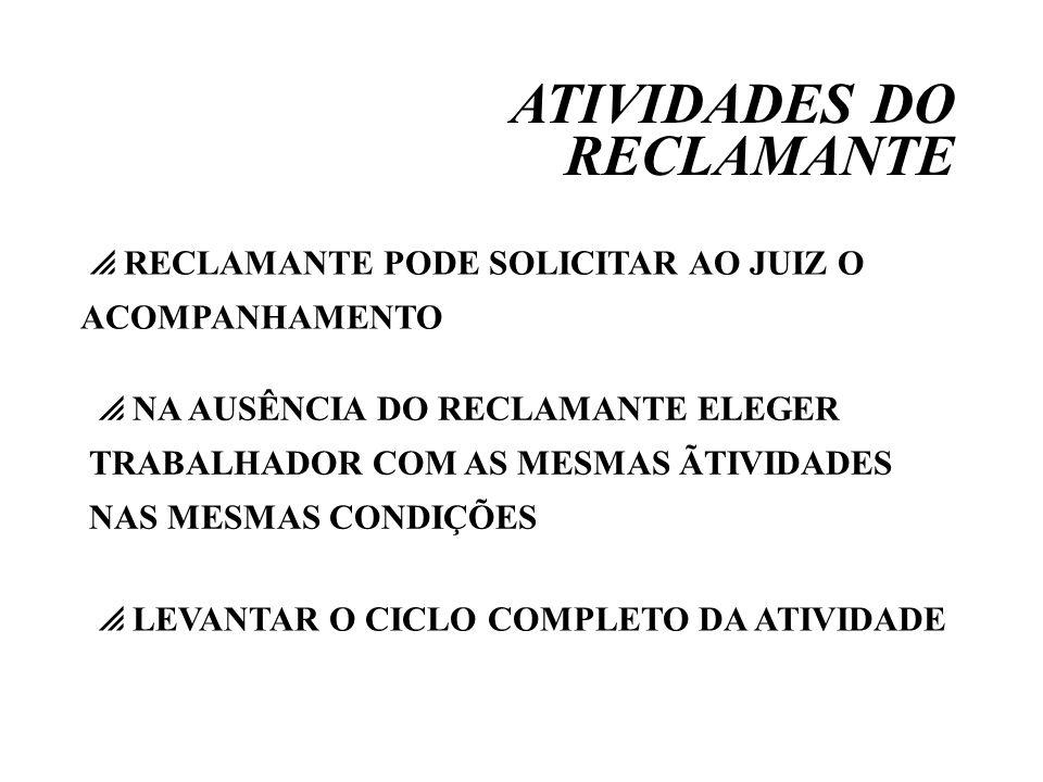 ATIVIDADES DO RECLAMANTE