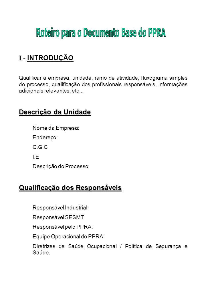Roteiro para o Documento Base do PPRA