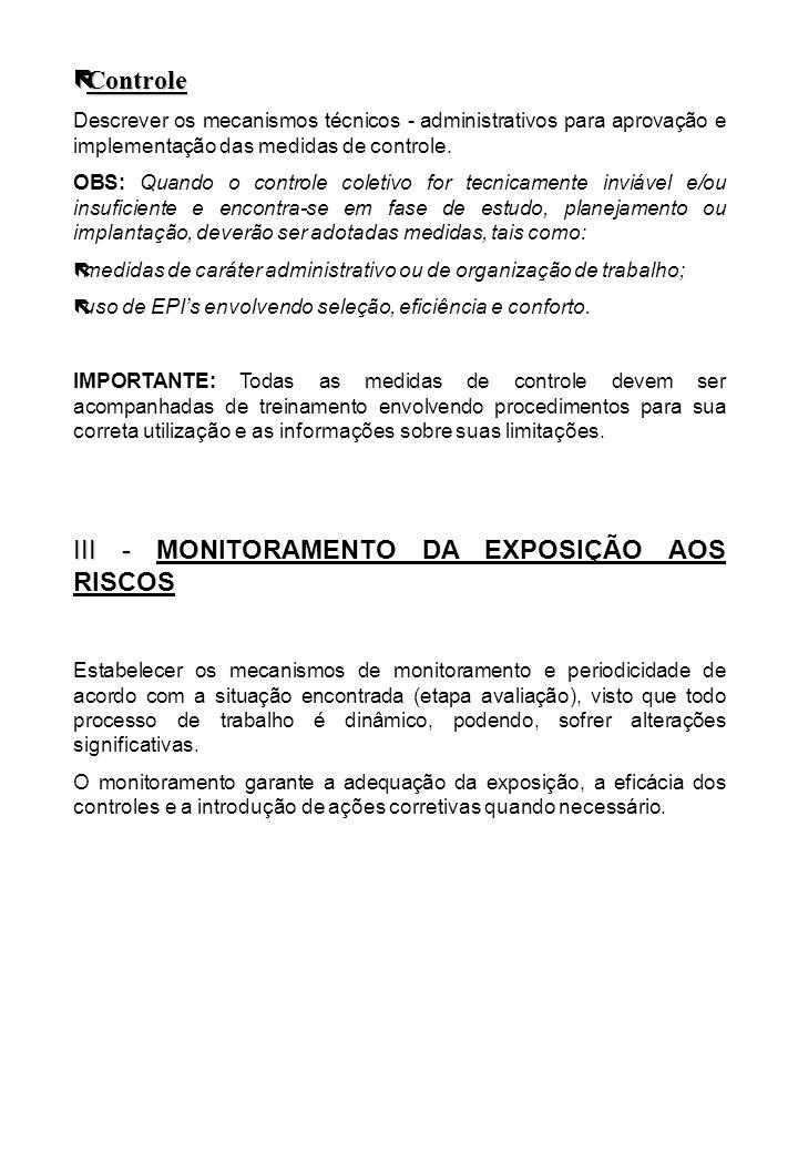 III - MONITORAMENTO DA EXPOSIÇÃO AOS RISCOS
