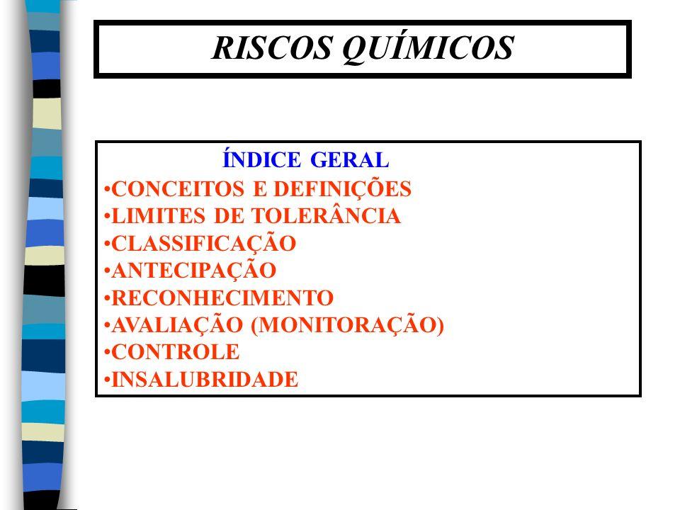 RISCOS QUÍMICOS ÍNDICE GERAL CONCEITOS E DEFINIÇÕES