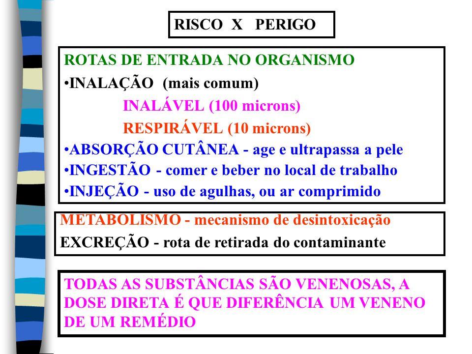 RISCO X PERIGO ROTAS DE ENTRADA NO ORGANISMO. INALAÇÃO (mais comum) INALÁVEL (100 microns) RESPIRÁVEL (10 microns)