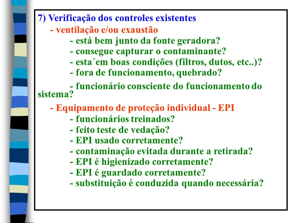 7) Verificação dos controles existentes