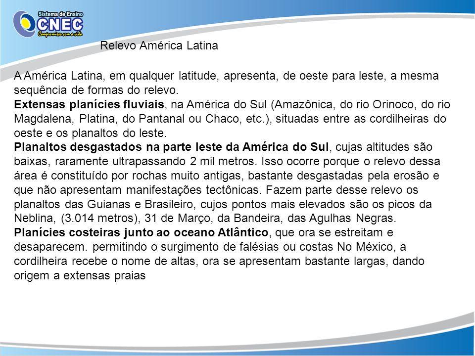 Relevo América Latina A América Latina, em qualquer latitude, apresenta, de oeste para leste, a mesma sequência de formas do relevo.