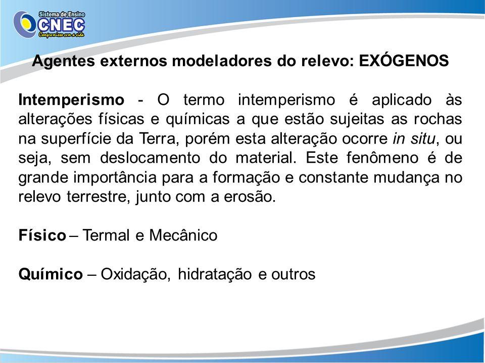Agentes externos modeladores do relevo: EXÓGENOS